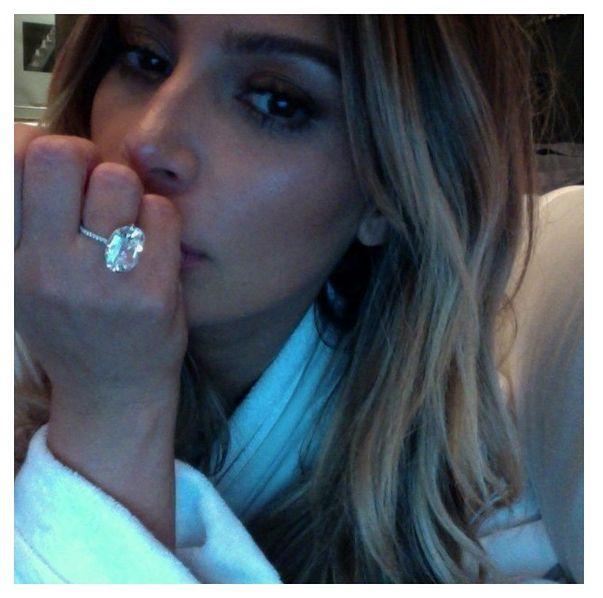 Kim Kardashian engagement ring. Image from Instagram/KimKardashian