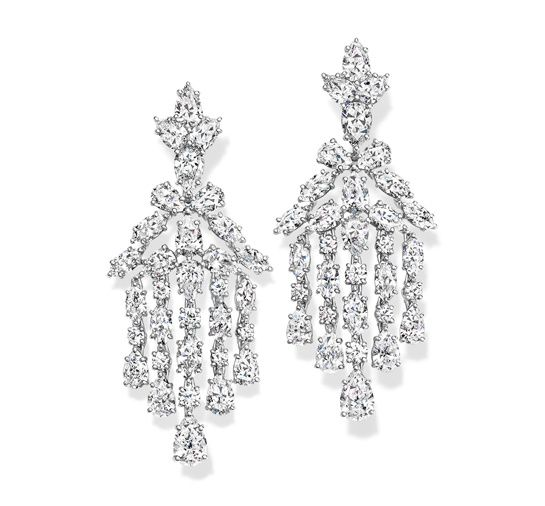 Harry Winston diamond earrings with 64 marquise, pear and brilliant-cut diamonds, for a total weight of 17.28 carats