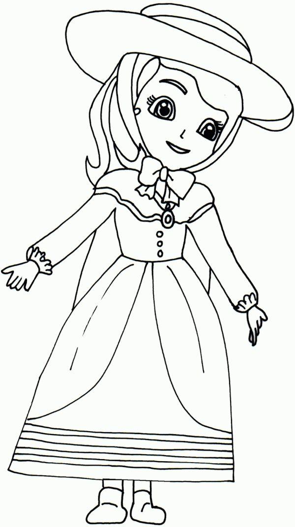 Coloreaza Plansa de colorat printesa sofia intai imbracata ca o fata obisnuita #plansedecolorat #coloringpages #kids #kidscoloringpages #copiisimamici #sofia #princesssofia #sofiathefirst