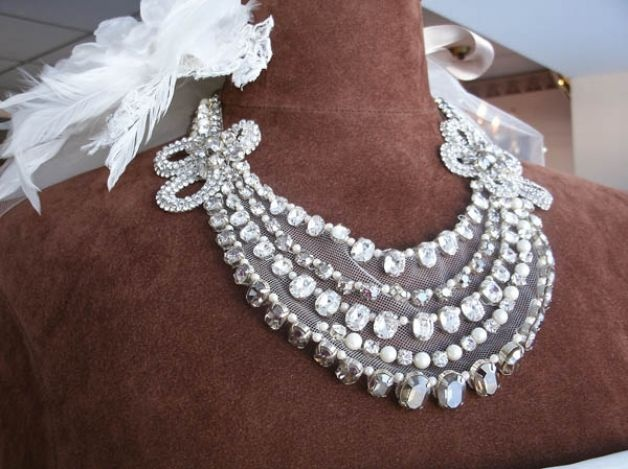 Rivini jewel-and-feather yoke bib necklace