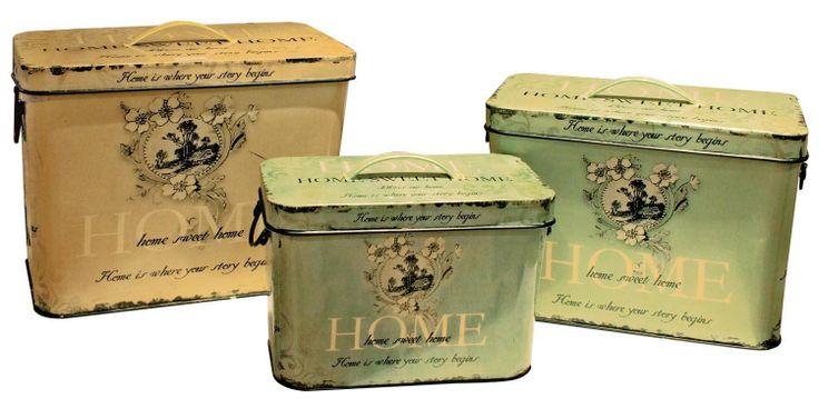 "Home Bread Bin Set of 3. Largest Item Height: 10.5"" - 27cm Width: 12"" - 31cm Depth: 8"" - 21cm"
