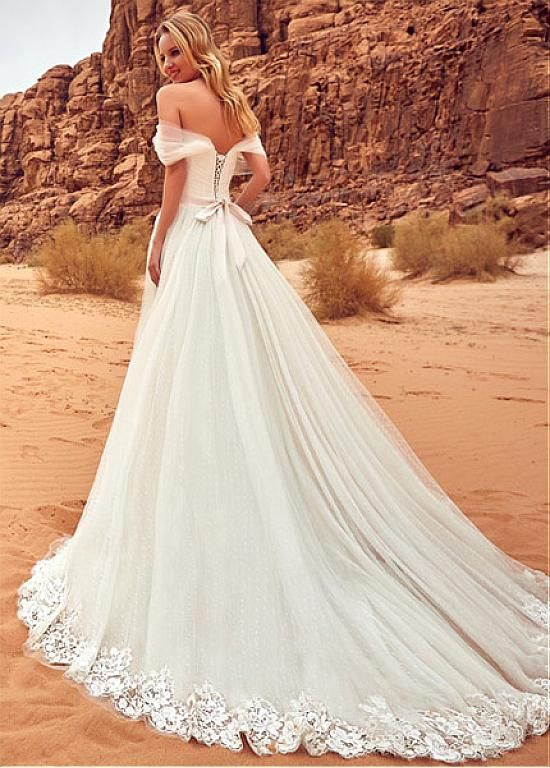 Buy discount Fantastic Tulle Off-the-shoulder Neckline A-line Wedding Dress With Lace Appliques at Laurenbridal.com