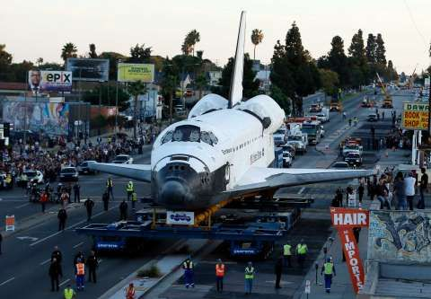 The space shuttle Endeavour is moved to the California Science Center, Saturday, Oct. 13, 2012 in Los Angeles Photo: AP