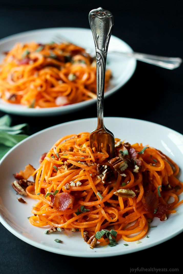 Homemade Sweet Potato Noodles, Brown Butter Sauce, Pecans, and Bacon... what more could you ask for? | www.joyfulhealthyeats.com