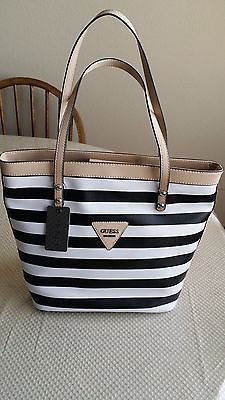 "Guess Handbag Black/ White Summer Stripe Shoulder Tote ""Great Deal"" NWT"