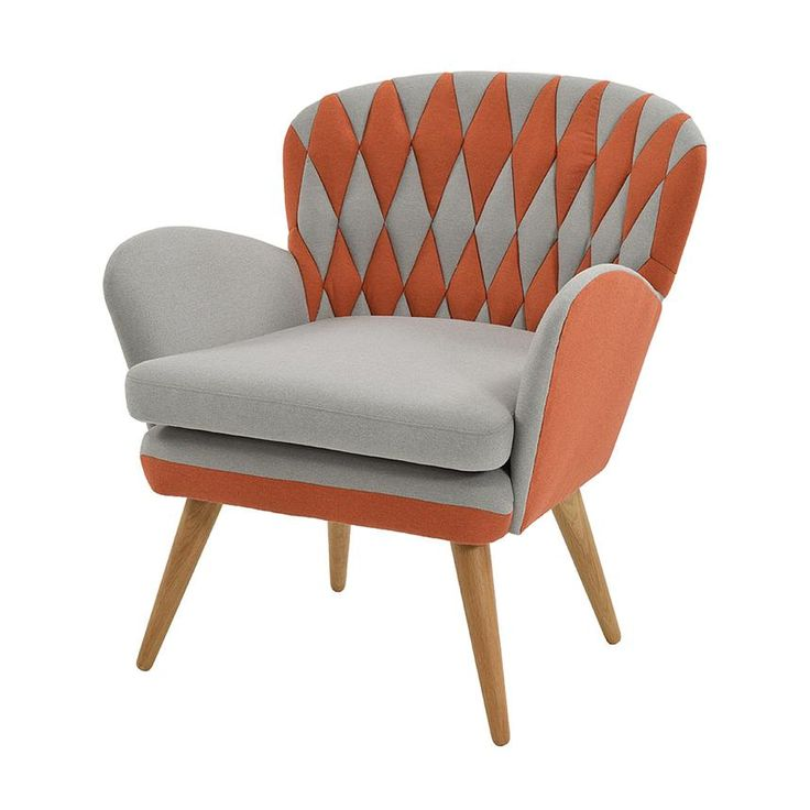 Bring warmth to Scan design with the Ebba Accent Chair. Gray and orange  hues forming. Modern Accent ChairsWooden LegAccent ...