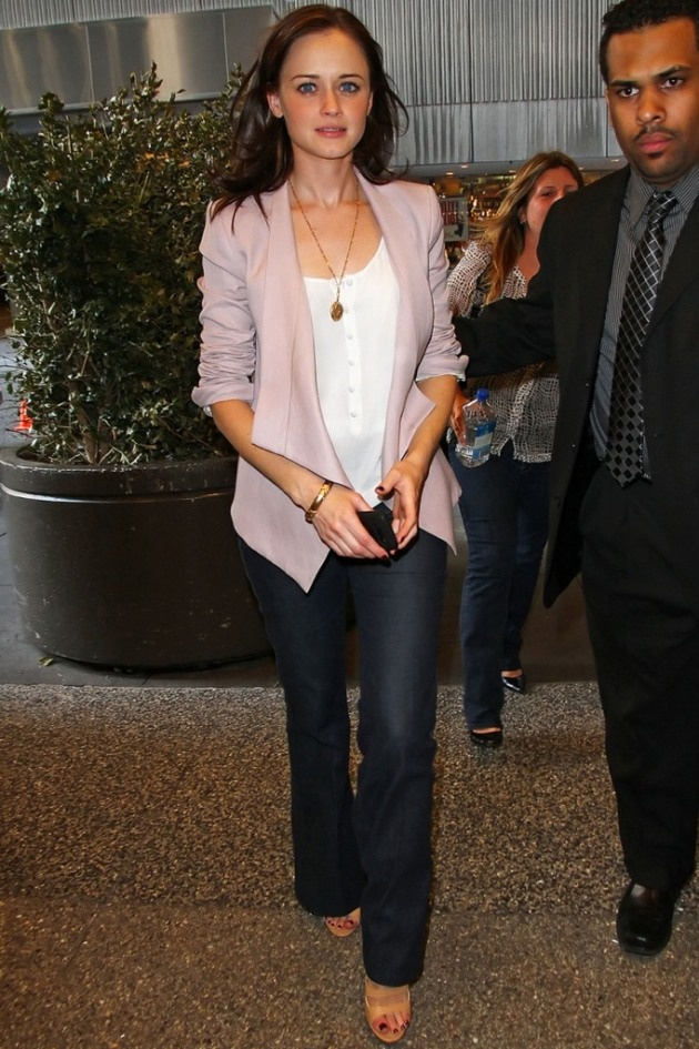 Alexis Bledel. Love her pale purple blazer with a white tee and jeans.