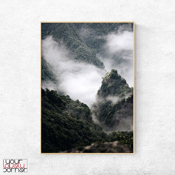Mountains Printable Wall Art, Misty Forest Print, Foggy Mountain Poster Download, Landscape Print, Nature Photography, Scandinavian Design