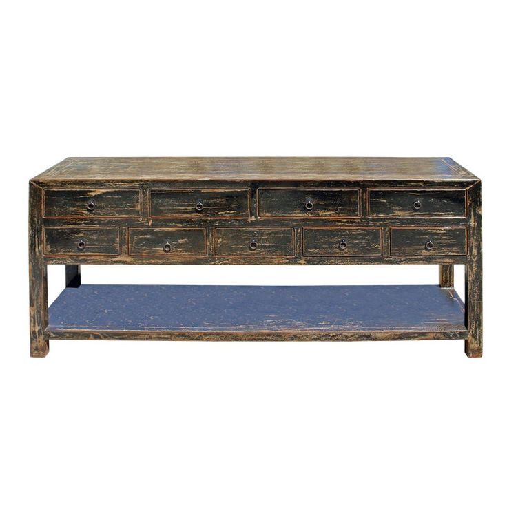 Oriental Distressed Black Drawers Sideboard Console Table Cabinet