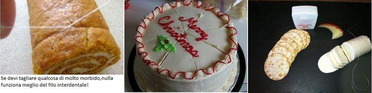 Il filo interdentale è la miglior soluzione per tagliare pietanze molto morbide (d'obbligo con il cheesecake!)