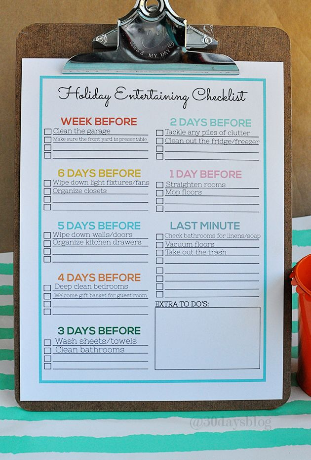 Printable checklist to help reduce stress during the chaos of the holidays and entertaining. www.thirtyhandmadedays.com