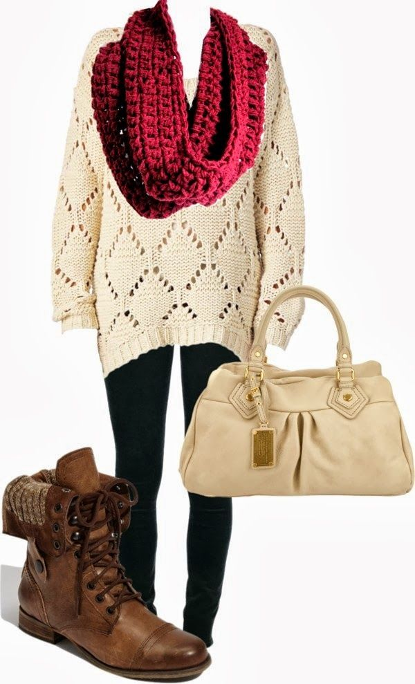 Adorable warm outfits with knitted scarf and sweater