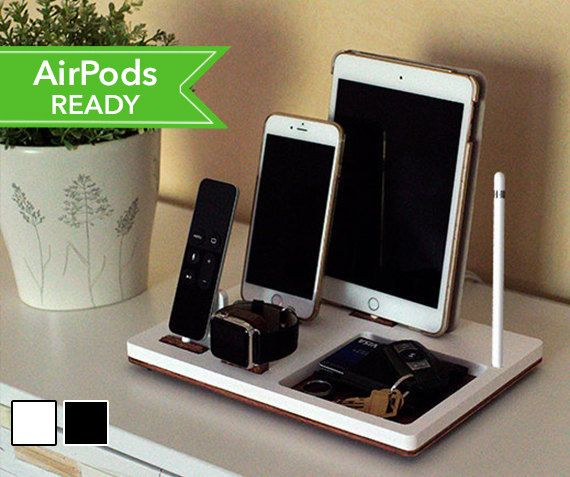 NytStnd TRAY 4 is the ultimate charging dock for: - iPhone (5 & up) - iPad (Mini, Air, Pro) - Apple Watch: Series 1 & 2 (38mm & 42mm) - AirPods or Apple TV Remote (4th Gen) - Apple Pencil (Holder Only) SIZE: 10.6 x 7.2 Have an iPad Pro 12.9? Add this to your order: https://www.etsy.com/listing/484128845/add-on-ipad-pro-129-device-backing-apple?ref=shop_home_active_1 Want a USB 3.0 Port? Add this to your order: https://www.etsy.com/listing/461795686/option-usb-30-port-addition-to-any?ref=...