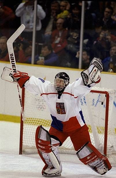 Goaltender Dominik Hasek of Czechoslovakia in action against Russia in the final ice hockey match during the Winter Olympics in Nagano Japan...