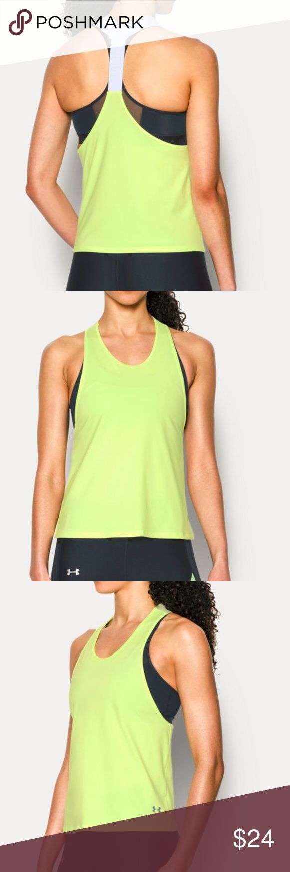 Under Armour Sport Swing Tank NEW Loose: Generous, more relaxed fit. Soft & super-smooth anti-pick, anti-pill fabric delivers relentless durability & style Material wicks sweat & dries really fast 4-way stretch construction moves better in every direction Anti-odor technology prevents the growth of odor-causing microbes Exposed elastic word mark strap detail Generous, oversized fit with dropped armholes for layering Slightly shaped hem 88% Polyester/12% Elastane Imported Under Armour Tops…