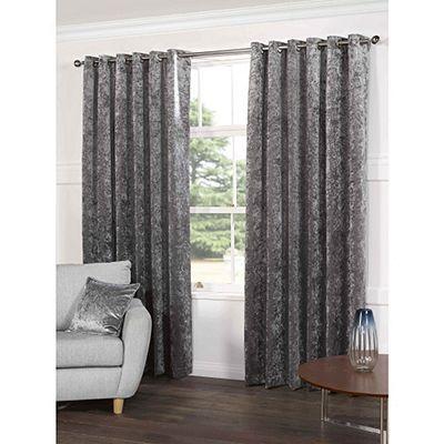 Crushed Velvet Grey Eyelet Curtains - 46x54 Inches (117x137cm)