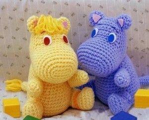 Free Crochet Animal Patterns | ... Hippo Moomin muumi mumin snufkin crochet Pattern... | Shop | Kaboodle