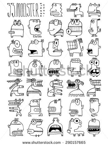 thirty three doodle icons MONSTER simple drawing funny faces silly characters strange alien