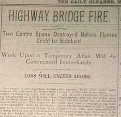 The bridge was destroyed two spans in summer of 1905.