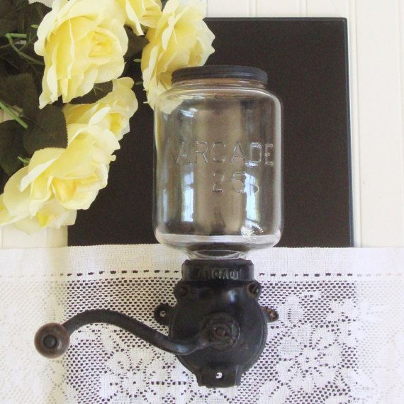 Coffee Grinder, Arcade, Antique Wall Mount, Hand Crank Coffee Grinder, Cast Iron, Glass Jar