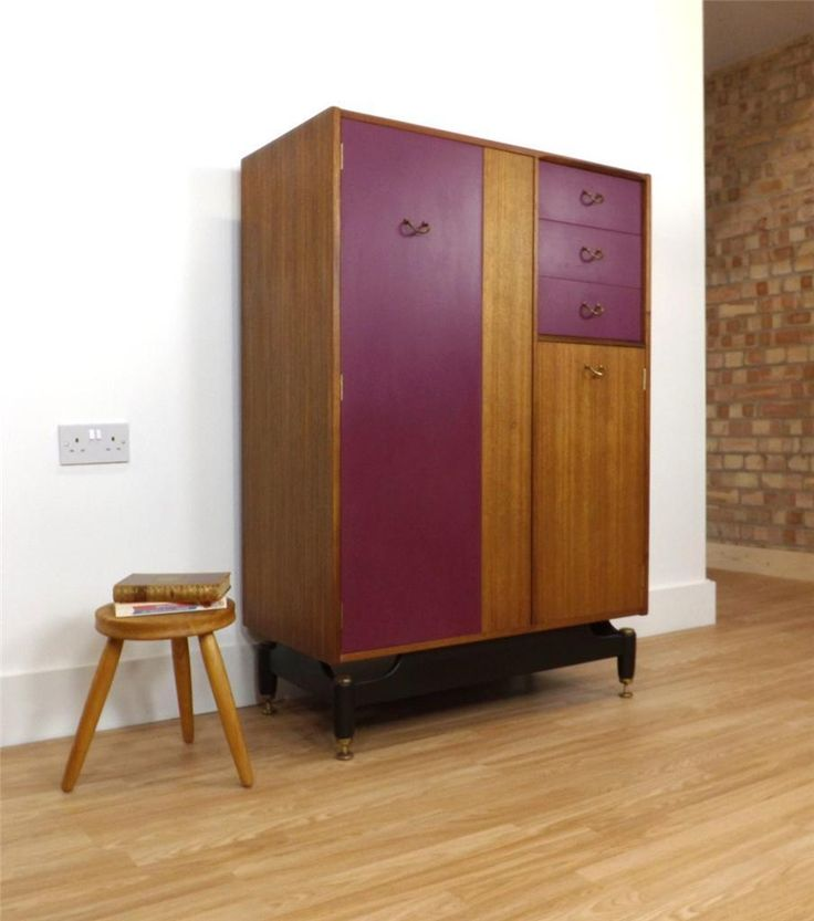 G Plan E Gomme wardrobe retro vintage mid century 50s 60s tola & painted panels | eBay