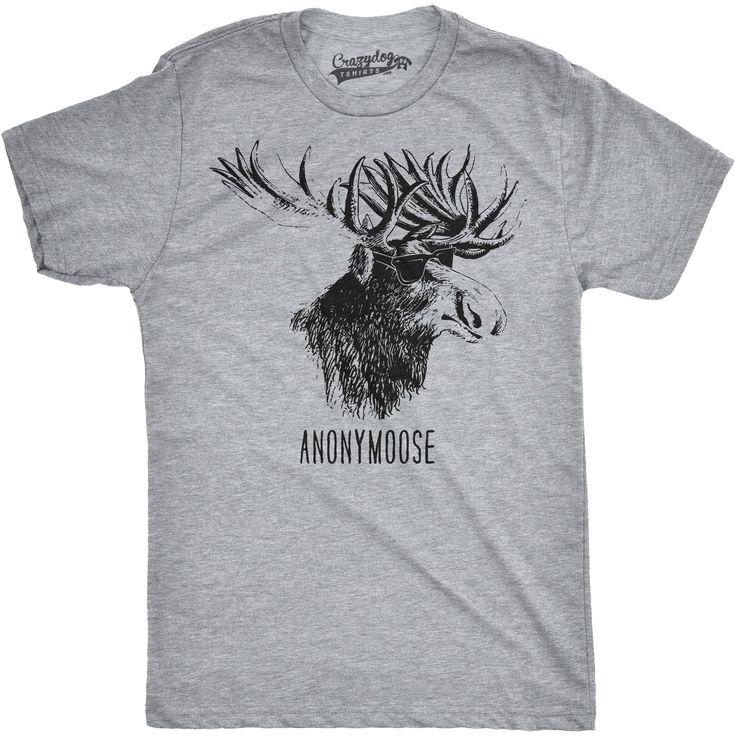 Mens Anonymoose Funny Moose In Sunglasses Cool Animal T shirt