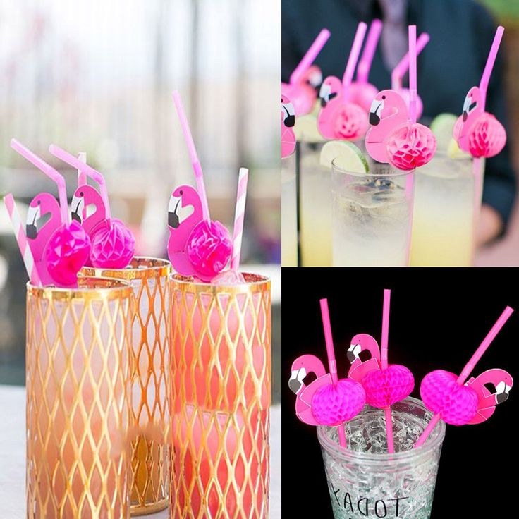 Plastic Bendable Flamingo Cocktails Drinking Straws Party Birthday Wedding Decor #Unbrand #Party