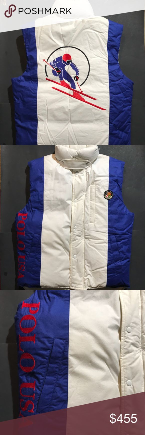 Vintage Ralph Lauren USA Ski Vest! Collectors item Up for sale is a used VINTAGE - Ralph Lauren Polo USA Circule Ski Vest Size: Adult Medium (M) This is an Official Ralph Lauren Polo Apparel, not a cheap knock off!  Measurements:  Pit to pit: 24 Inches Back collar to bottom: 24 Inches  Jacket is in good used condition 8.5/10 but none noticeable while worn Some discoloration No rips or tears All colors bright & vibrant Any Questions feel free to ask! Polo by Ralph Lauren Jackets & Coats