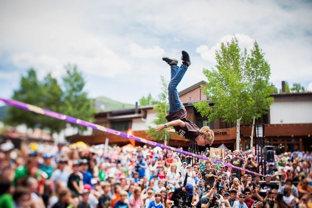 14-year-old competitive slackliner Alex Mason at the @Teva Mountain Games.