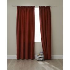Dark red large curtains to cover patio doors and to match sofa colour