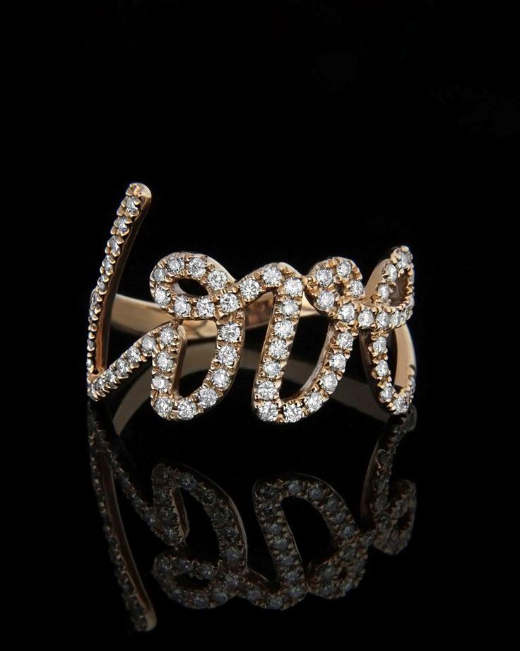 """Δαχτυλίδι """"Love"""" ροζ χρυσό με Διαμάντια"""
