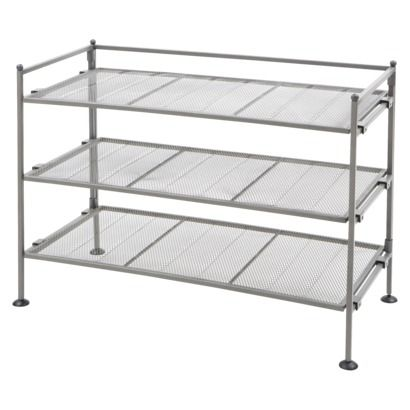 Seville Classics Mesh 3-Tier Shoe/Utility Rack - Gray - for the mud room closet. I'll put baskets on top for hats, gloves, and scarves.