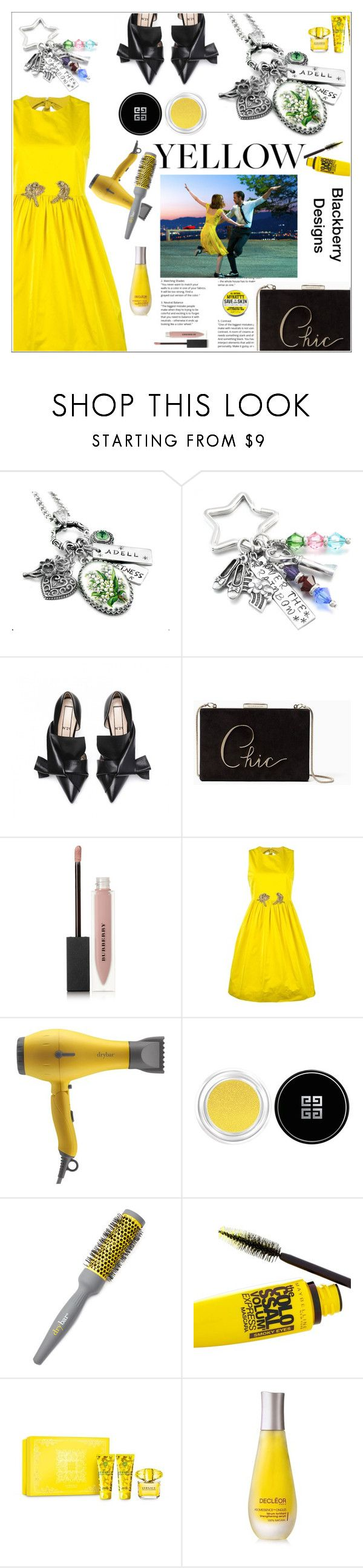 """""""Yellow Dress with Blackberry Designs"""" by shambala-379 ❤ liked on Polyvore featuring Kate Spade, Burberry, N°21, Drybar, Givenchy, Maybelline, Versace, Decléor and Mr Natty"""