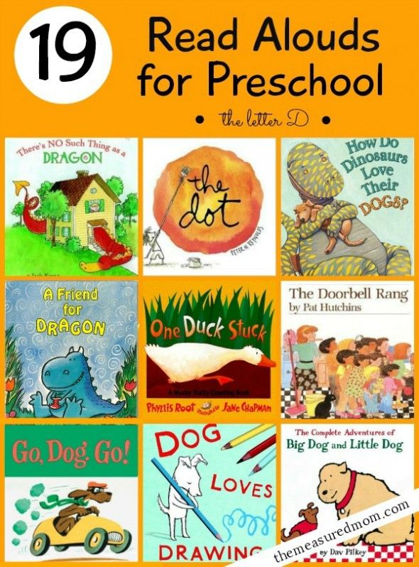 Fun collection of books to read to preschoolers.  Have you seen the Dragon books by Dav Pilkey yet?  Hilarious!!