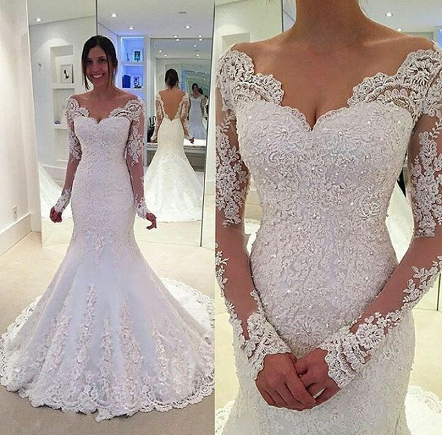 Mermaid Deep V-back Long Sleeves Lace Wedding Dress