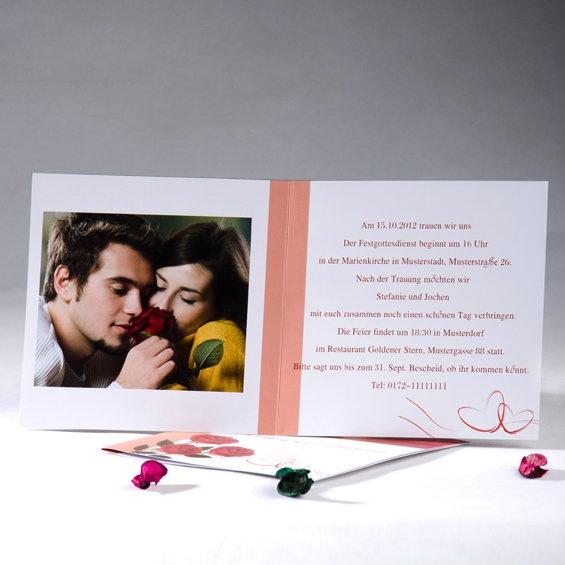 Wir Sollen Ein Rosengarten Haben  Rot Weiß Wunderschön Fotokarten zur Hochzeit