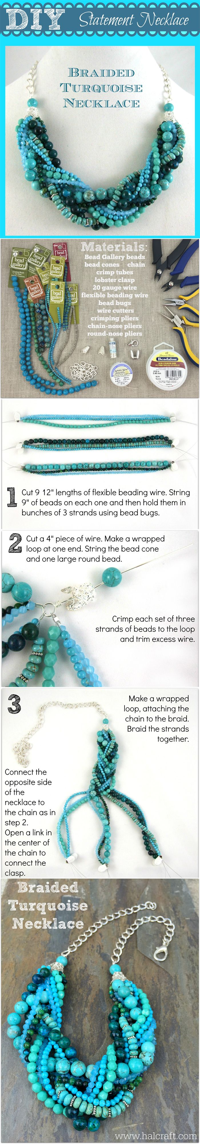 DIY Braided #Turquoise #statement #necklace tutorial. Change out the colors for your favorites, or choose these #BeadGallery beads and @beadalon beading wire available at @michaelsstores