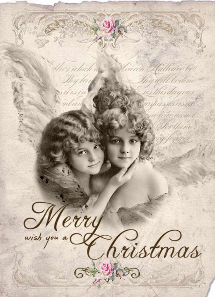 Vintage angels christmas  Digital collage p1022 free for personal use..