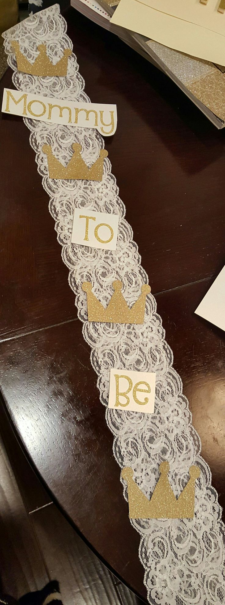Crown or King themed Baby shower sash for Mommy to be.