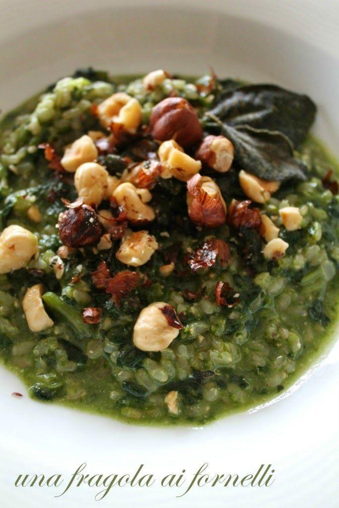 Risotto agli spinaci, nocciole e salvia   Risotto with Spinach, Hazelnuts and Sage