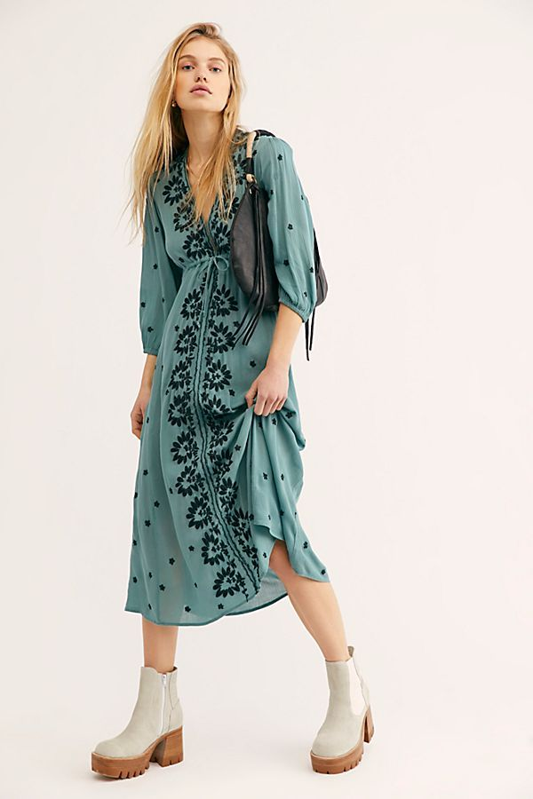 7d5e1bb76ed066 Embroidered Fable Midi Dress - Teal Embroidered Long Sleeve Midi Dress -  Boho Midi Dresses - Teal Boho Dresses - Embroidered Blue Dresses - Free  People ...