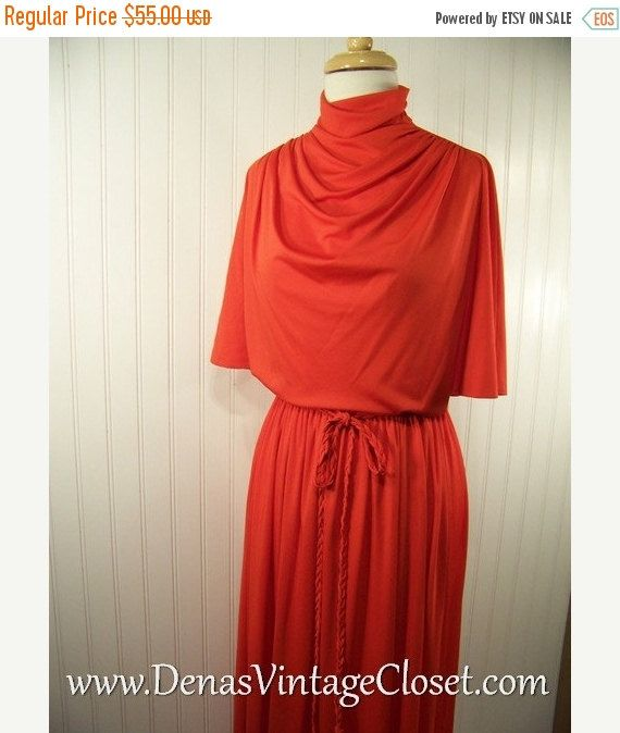 60% OFF Mothers Day Sale 70s Vintage Neiman Marcus Maxi Dress Polyester Knit Orange sz S/M