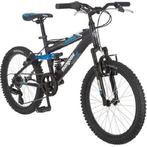 "20"" Mongoose Boys Mountain Bike Black Aluminum Bicycle Full Suspension 7 Speed #Mongoose"