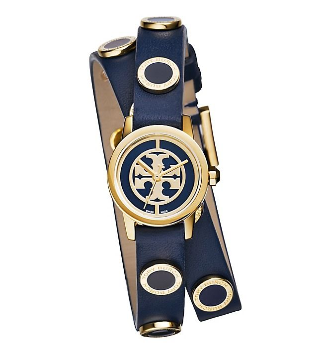 Reva Mini Studded Double-Wrap Watch, Navy Leather/Gold-Tone, 20.5 mm