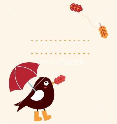 Cute autumn greeting card with cartoon bird vector 1551526 - by lordalea on VectorStock®