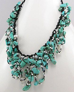 50727537 Collar de Turquesa, Perlas, Cristal, c/Algodon, (En oferta)