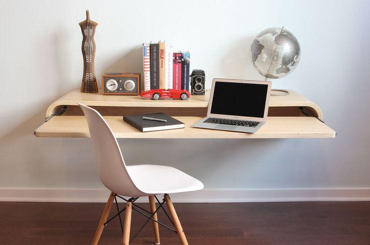 De Minimal Float Wall Desk is exact wat je denkt dat het is: een minimalistische bureau die je vast hangt aan de muur. Deze prachtige bureau heeft een uits