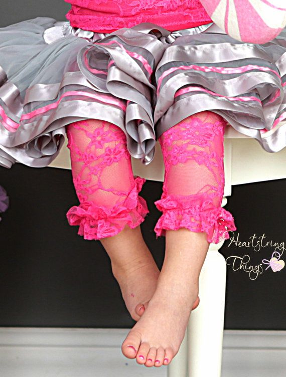 Hot Pink Ruffle Stretch Lace Leggings for by HeartstringThings, $12.00