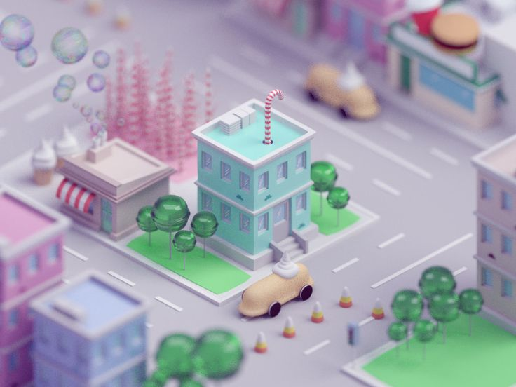 Candy town, Mohamed Chahin on ArtStation at https://www.artstation.com/artwork/6ZXD5