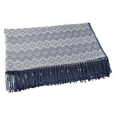Throw blanket, 'Prussian Blue Destiny' - Alpaca Acrylic Blanket Fringe Prussian Blue Eggshell Peru